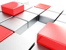 Silver and red cubes Stock Photo