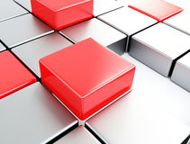 Silver and red cubes Stock Image
