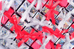 Silver and red gifts as background Royalty Free Stock Photo