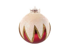 Silver Red and Gold Sparkling Christmas Bauble Royalty Free Stock Image
