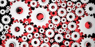 Silver and red mechanical 3D manufacturing, metal gears cog cogs on black background. Work royalty free illustration
