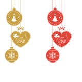 Silver red Merry Christmas Typography Royalty Free Stock Photos