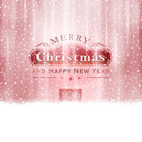Silver red Merry Christmas Typography. Abstract Christmas background in shades of silver red with snowfall and light effects to give it a festive feeling vector illustration
