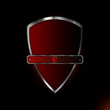 Silver red shield with banner Stock Image