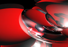 Silver&red spheres Stock Photo