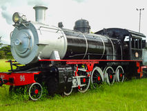 Silver and red train engine Stock Image