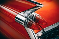 Silver and Red Vintage Tail Lights Stock Photography