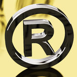 Silver Registered Sign Representing Patented. Silver Registered Sign With Gold Background Representing Patented Brands Stock Images