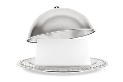 Silver Restaurant cloche with paper template Stock Photos