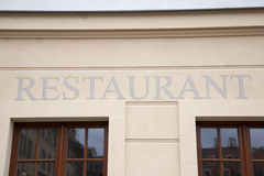 Silver Restaurant Sign Stock Image
