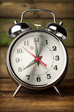Silver retro alarm clock close up Stock Photos