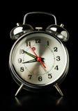 Silver retro alarm clock Stock Image