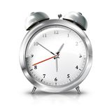 Silver retro alarm clock isolated on white Royalty Free Stock Photo