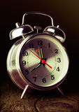 Silver retro alarm clock Stock Photo
