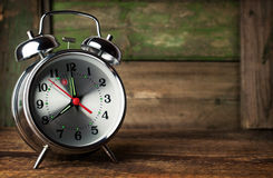 Silver retro alarm clock Stock Photos