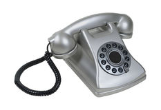 Silver Retro Desk Phone. Traditional silver retro desk phone with large receiver - path included Royalty Free Stock Image