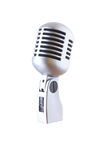 Silver retro microphone. Isolated on white royalty free stock photo