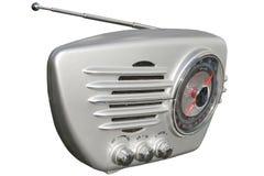 Silver retro radio. Sleek retro radio set in chrome finish Royalty Free Stock Images