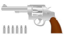 Silver revolver and bullets Stock Photography