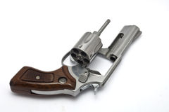 Silver revolver on white background Royalty Free Stock Photography