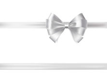 Silver ribbon bow. decorative design element Stock Photo