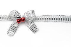Silver ribbon bow Royalty Free Stock Image