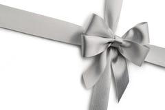 Silver ribbon bow Royalty Free Stock Photography