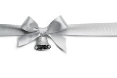 Silver ribbon bow Royalty Free Stock Image