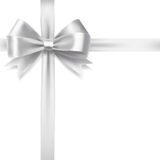 Silver ribbon bow Stock Images