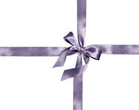 Silver ribbon and bow Royalty Free Stock Photo