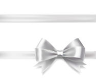 Silver ribbon bow. Vector decorative design elements Stock Photo