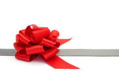 Silver ribbon and red ribbon bow Royalty Free Stock Photos