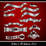 Silver Ribbon Set Royalty Free Stock Photo