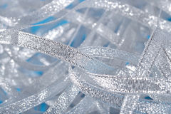 Silver ribbons close up Royalty Free Stock Photos