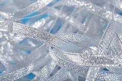 Silver ribbons close up Royalty Free Stock Photos