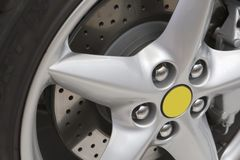 Silver rim with brake disk Stock Image