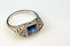 Silver ring. Art deco siver ring with blue stone Stock Photography