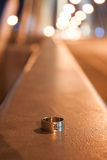 Silver ring on background bridge royalty free stock photos