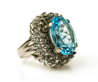 Silver ring with big natural topaz Royalty Free Stock Images