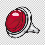 Silver Ring with Big Red Stone Flat Design Web Royalty Free Stock Photo