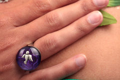 Silver ring bird purple gem Stock Image
