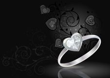 Silver ring on black background Stock Image