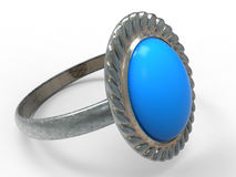 Silver ring with blue gem. 3D render illustration of a silver ring with a blue gem Royalty Free Stock Photos