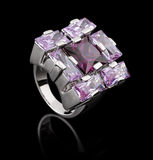 Silver ring with brilliants. On black Royalty Free Stock Photography