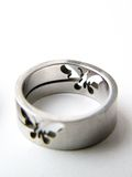 SILVER RING with butterfly stock photo