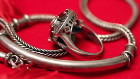 Silver ring and chain stock video footage