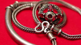 Silver ring and chain stock footage