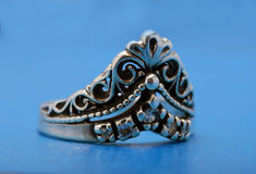 Silver ring with a crown Royalty Free Stock Photography