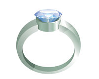 Silver ring with diamond Stock Image