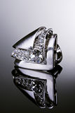 Silver ring with diamonds. Royalty Free Stock Photo